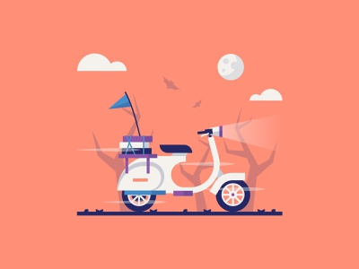 Midnight Food scared driver scooter take away scary night food pizza takeaway fast illustrator travel colour stroke illustration vector flat icon dribbble shot
