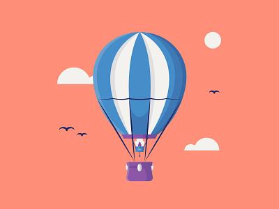 Hot Air Balloon fly hot air balloon flame cloud high sky balloon air hot illustrator travel colour stroke illustration vector flat icon dribbble shot