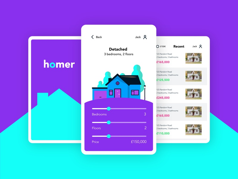 Homer homes app illustraion logo home screen rent real estate property buy pixel grid mobile app ux ui house homer home shot