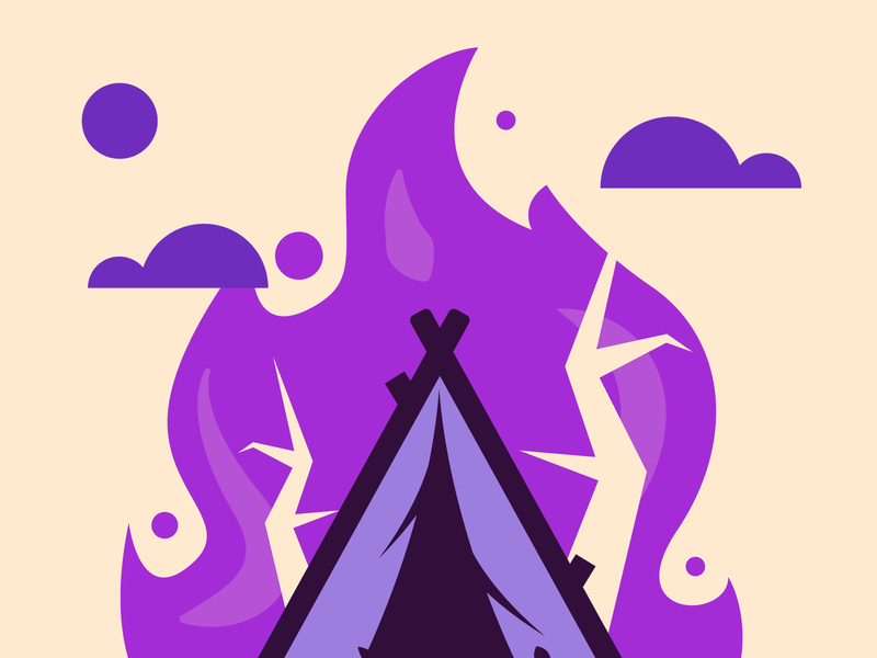 Camp on fire