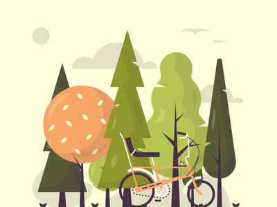 Outdoor trips health seasons autum green grow leaf trees outdoors trip cycle travel forest woods bike illustration vector flat icon dribbble shot