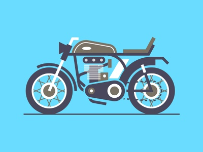 Classic Bike motorcycles motorcycle motorbikes bikes bike ride histroy bikers classic motor biker motorbike bike colour stroke illustration vector flat icon dribbble shot