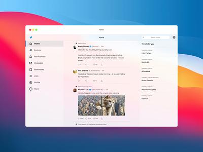 Twitter Re-imagined for MacOS Big Sur – Light Mode white redesign twitter apple big sur macos vector web figma ux mobile design ui