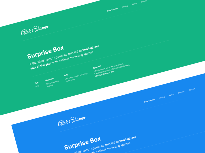 Case Study Hero Section landing page typography blue web figma ux design ui