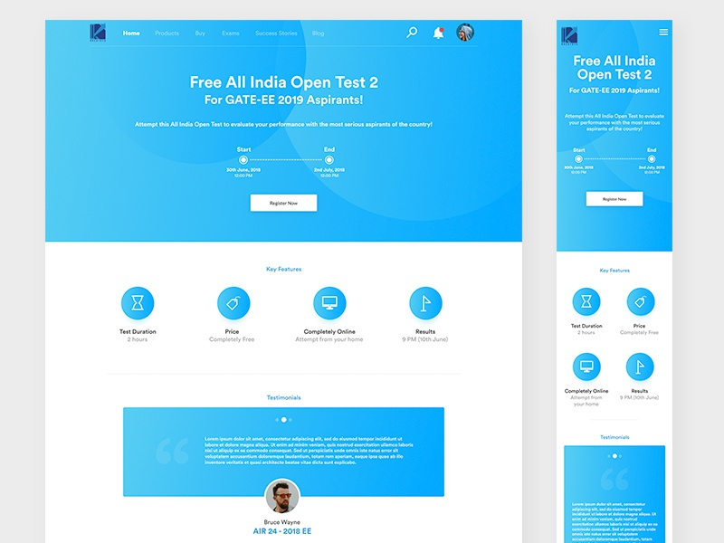 Open Test Landing Page responsive mobile landing page web