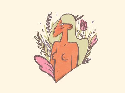 Wild a bit illustration girl flowers