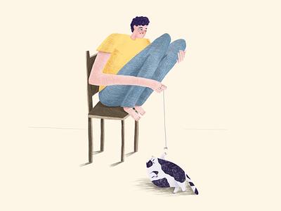 Lazy game illustration vector ui cat man
