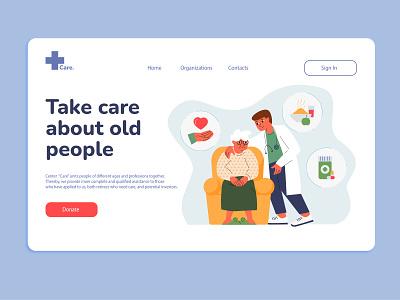 Care Website ux logo digital art vector ui creative design character illustration