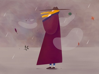 Rainy day character design illustration