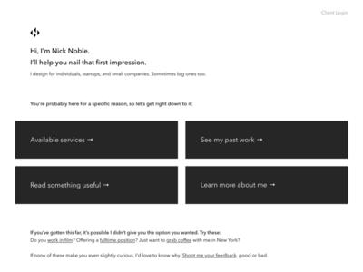 New Homepage WIP minimal website