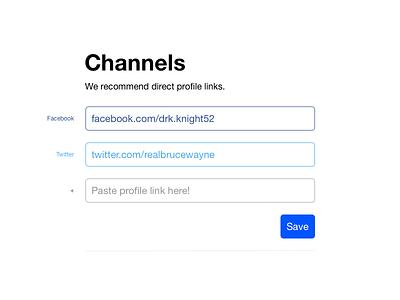 Social Channels Input settings inputs ui