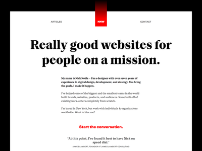 The New NNW homepage typography wip