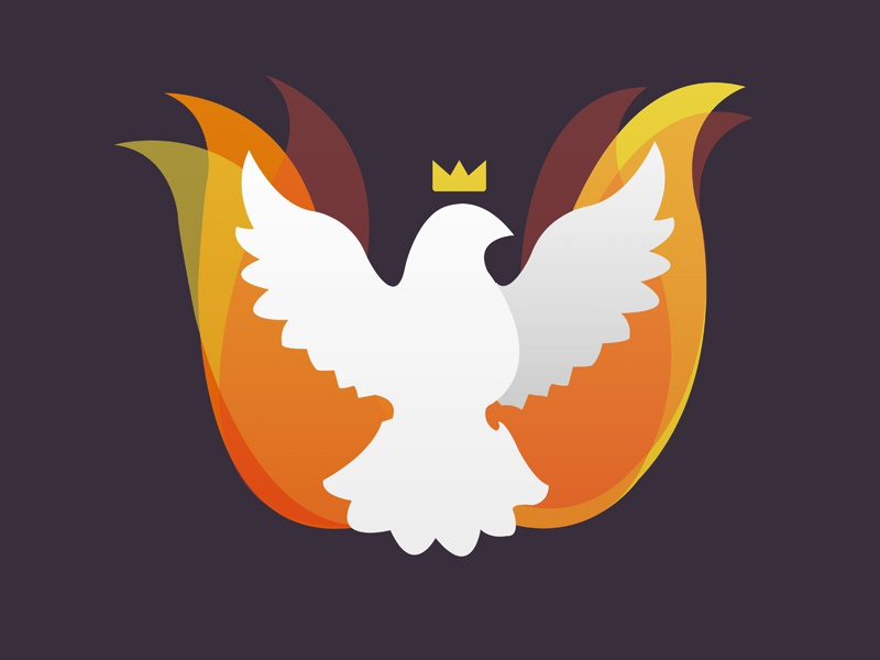 Powerful Peace logo dove bird flames king crown wings white