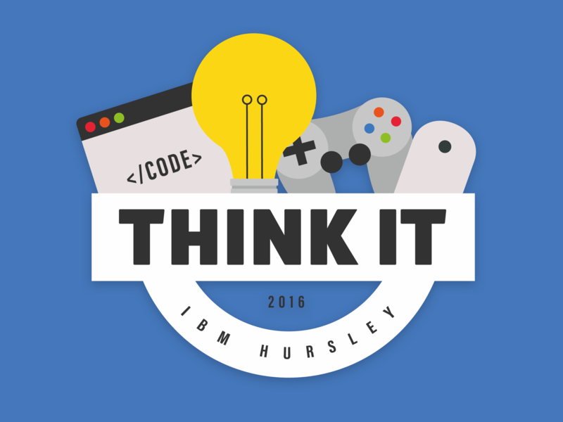 Day 10 | Think I.T. Logo controller console brackets code mouse game lightbulb it think brand and identity brand logo vector illustration flat colors design