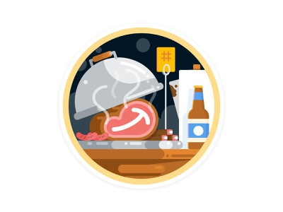 Q2 2020 Core Badge: All The Meats badge beer food bbq figma illustration