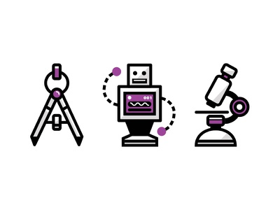 Science Icon Set robot tech ui icons ian steele vector line science microscope