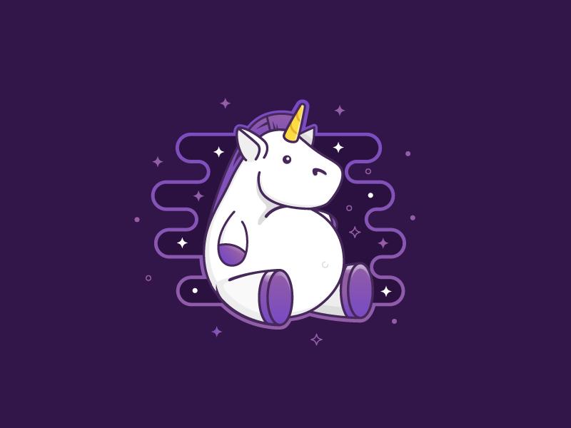 Unicorn horse majestic character illustration startup fat unicorn