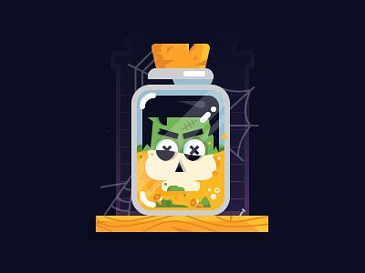 Acid Bath october spooky spider bottle skull frankenstein vector illustration inktober halloween