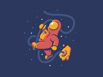 Astronaut steele ian colors primary character floating space vector illustration astronaut