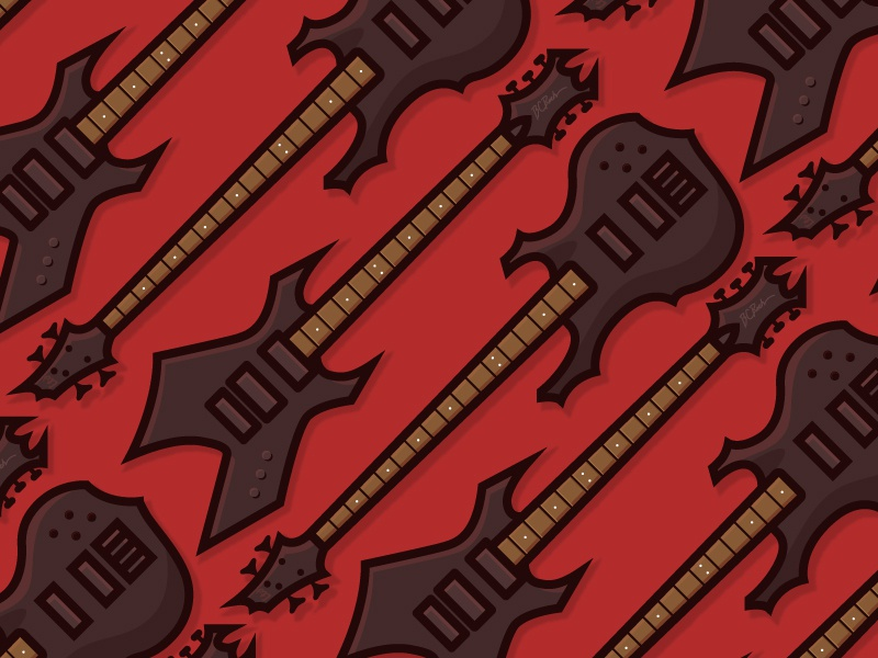 Teenage years metal pattern illustration vector music bass electric guitar