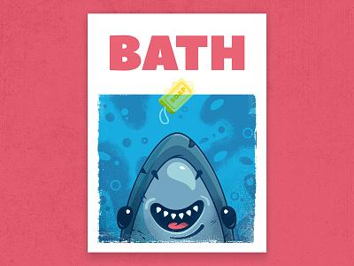 JAWS bath poster texture illustration poster soap bath movies fun character shark jaws