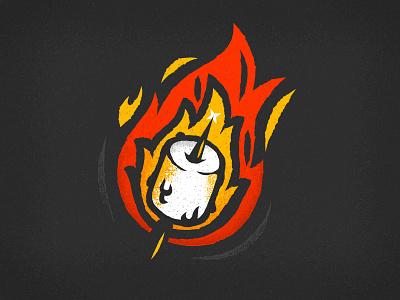 03 Roasted texture retro supply co october marshmallow roasted smores fire campfire illustration inktober vector vectober