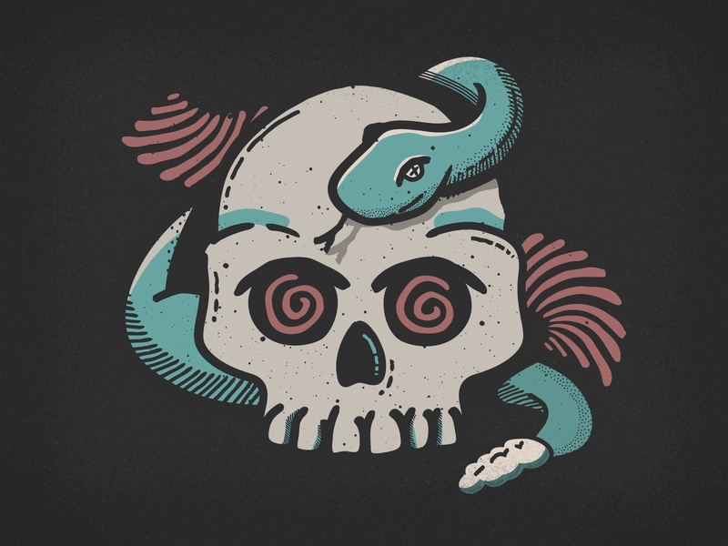 Day 4: Spell brush illustrator skulls retro supply co snake spell vector drawlloween inktober