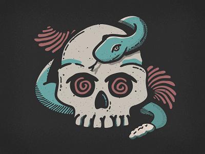 Day 4: Spell brush illustrator skulls retro supply co snake spell vector drawlloween inktober
