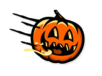 Day 6: Drooling halftone halloween pumpkin inktober 2018 inktober drool drooling