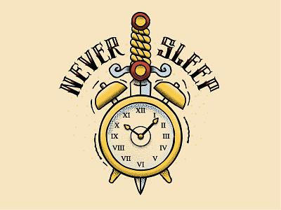 Day 7: Exhausted dagger clock retro supply co tattoo drawlloween vector inktober inktober 2018