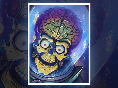 Mars Attacks! true grit texture supply skull texture ipad pro fan art mars attacks alien scifi illustration procreate