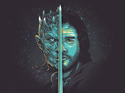 Winter is here fan art ipad pro procreate hbo night king white walker jon snow game of thrones