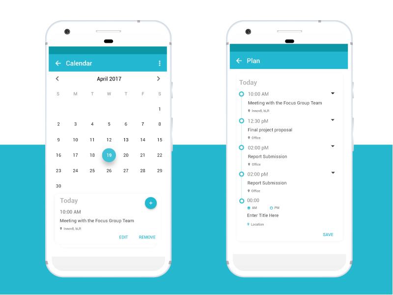 Calendar App android app routine planner calendar design dribbble trending minimal ui google pixel material