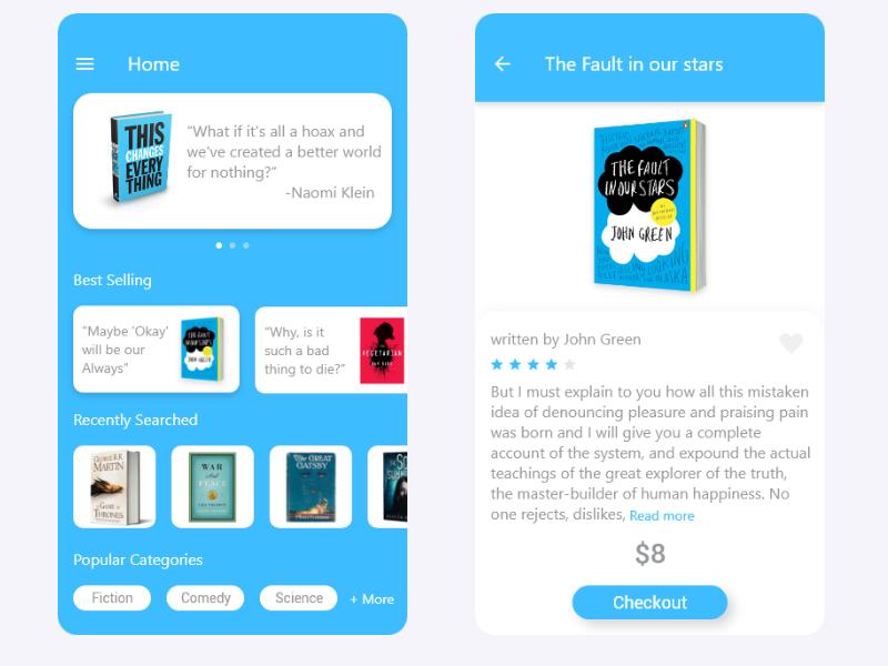 book store app by rahul raj dribbble dribbble
