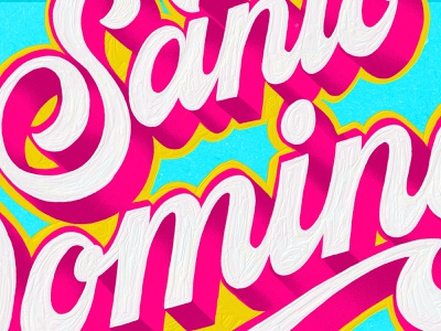 SANTO DOMINGO - Details merengue music cover coverart brushpen colors calligraphy textures procreate lettering design details