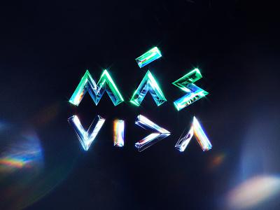 Más vida ft @maneyimagination vida holographic 3d lettering photoshop design colors textures lettering