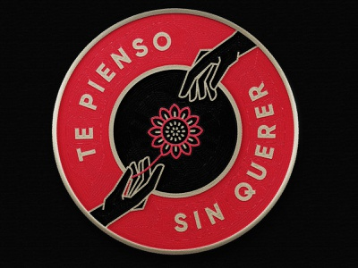 Te pienso sin querer badge calligraphy textures details procreate lettering