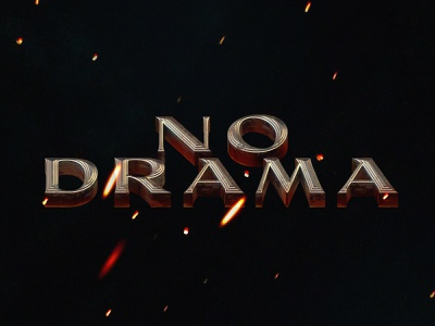 No Drama 3d type movie title lettering
