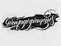 Demagogiemonos brushpen lettering