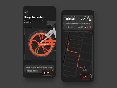 Bicycle rental App - Bdood rental bicycle map uidesign userinterface ux ui trend illustration scan minimal ui product interface design