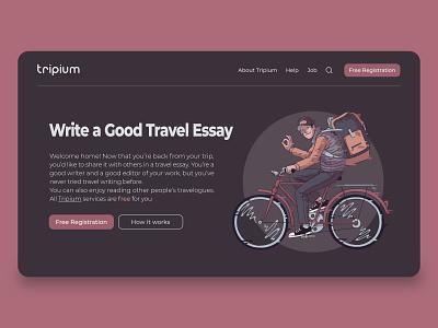 Tripium - Travel Essay Platform ux illustration product ui userinterface ui trend uidesign minimal interface design