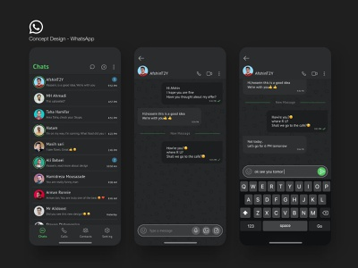 WhatsApp Concept Design userinterface design interface product ui trend uidesign minimal chat whatsapp ux ui