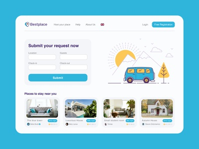 A place to stay on the trip - Bestplace vector userinterface illustration minimal ui uidesign ui trend web landing travel design interface