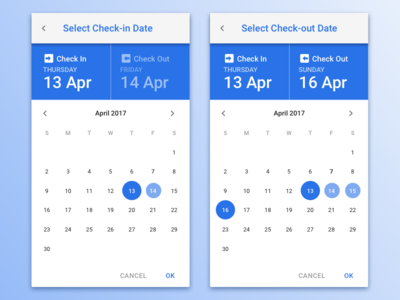 Check-in and Check-out Date calendar check check-out check-in select selection date reservation hotel app web mobile