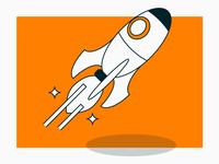 Money for nothing #2 space tech startup orange blast spaceship rocket