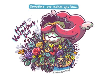 happy valentines day vector art eco green illustrator vector sticker greeting card happy blind heart flower love valentine day