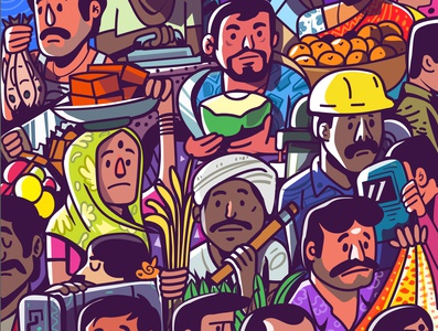 working-class hero work expression design mascot satishgangaiah indian vector illustration space graphic peoples india hero working