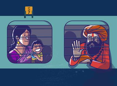 Railway chronicles- shot 1 india design expression satishgangaiah illustraion vectorart travelers passenger people railway station indian railway