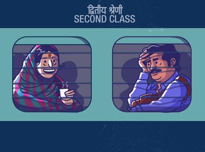 Railway chronicles - shot 2 satishgangaiah designer expression vector illustration vectorart travel journey tea peolpe rail passenger train second class railways
