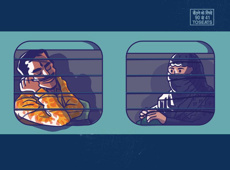 Railway chronicles - shot 3 satishgangaiah visual design x vector illustration vector art vector man indian india passenger travel train railway station railway